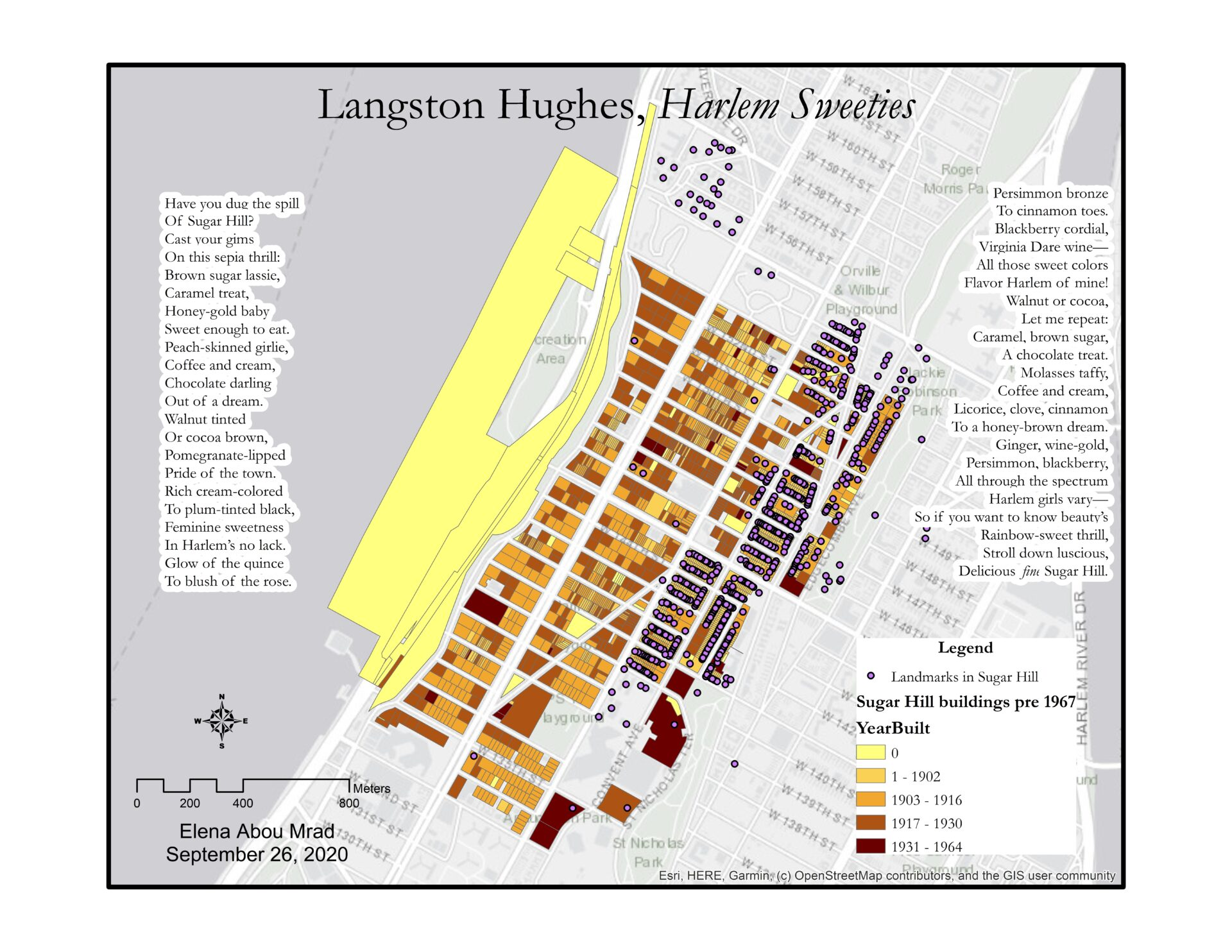 """Map of the Sugar Hill Neighborhood in Harlem. Buildings are colored according to the year they were built and there are indications of NYC landmarks. Langston Hughes' poem, """"Harlem Sweeties"""" is written on the right and left side of the map."""
