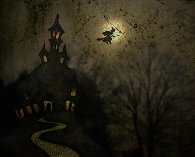 Witch Flying on Broom at Night Over Manor House
