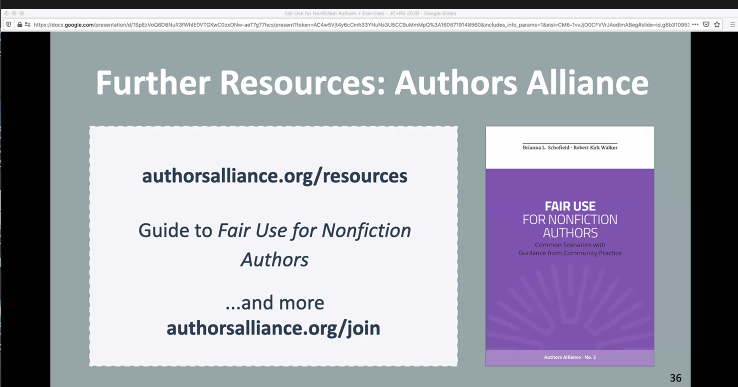 Screengrab with Link to Author Alliance